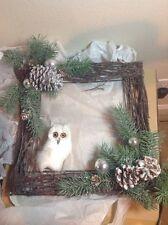 Winter Pine Owl Twig Door Wreath Wall Hanging Art  Woodland Decoration WHITE - G