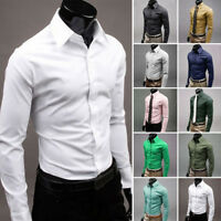 Luxury Men's Business Dress Shirt Slim Fit T-Shirts Formal Long Sleeve Tops UK