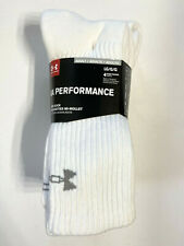 NEW Under Armour UA Performance Mens Crew Socks 4 Pairs White Size L 9-12.5