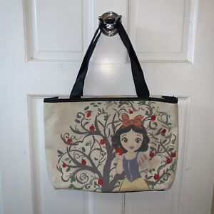 Disney Store Snow White Canvas Tote Bag Purse 2 Handles Handle Embroidered