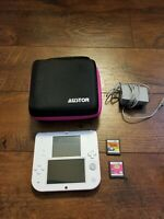 Nintendo 2ds White and Red Bundle with 2 games charger and case
