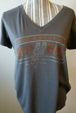 Gray Rhinestone Spurs Women's V-neck Shirt Size XL