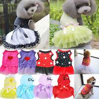Pet Dog Bow Dress Summer Lace Stripe Vest Skirt Clothes Puppy Cat Wedding Supply