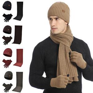 Men Women Beanie Hat + Gloves + Scarf Neck Warmer Autumn Winter Knit 3Pcs/Set