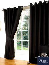 "90"" x 90"" Black Faux Silk Pair Curtains Eyelet, Ring Top, Lined Inc Tiebacks"
