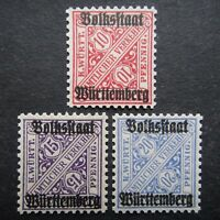 Germany 1919 Official Stamps MNH Overprinted GERMAN STATES WURTTEMBERG