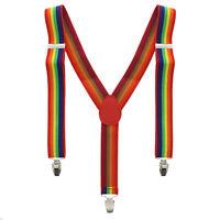 Men/ Ladies Adjustable 35mm Width Gay Pride Festival LGBT Rainbow Stripe Braces