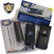 Black MINI Keychain STUN GUN PEPPER SPRAY Combo Set - SMACK 6,000,000 Streetwise