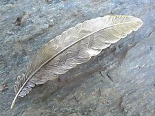 Feather Antiqued Brass Gold Finish French Clip Hair Barrette 80mm Clip USA 6010