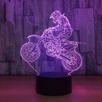 3D Table Lamp Automatic Motocross Bike LED USB 7 Colors Sensor Desk Night Lights