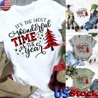 US Women Christmas Print T-Shirt Top Ladies Short Sleeve Casual Loose Blouse Tee