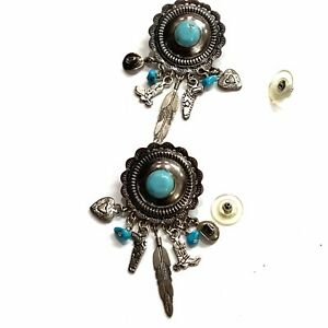 MONTANA SILVERSMITHS Western Style Silver Turquoise Dangling Earrings
