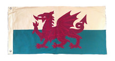 More details for wales welsh dragon flag sewn vintage style 100cm x 50cm with 2 eyelets