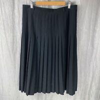 *VINTAGE* Black Box Pleated SIZE 14/16 UK Knee Length Lined Skirt V2