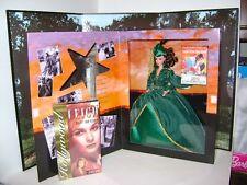 Gone With the Wind Scarlett O'Hara Barbie Doll Green Dress Tara Backdrop NRFB