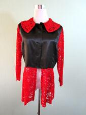 Womens Vtg Tailored Formal Lace Satin Gloss Long Jacket Blazer sz 10 12 14 K47