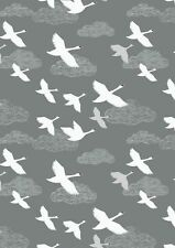 By 1/2 Yard ~ Down by the River Swans in Flight in Grey ~ Lewis & Irene Fabric