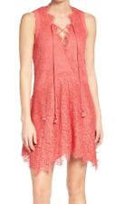 NWT Nordstrom Adelyn Rae Coral Eyelash Lace Woven Sleeveless Shift Dress, Size L