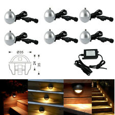 6pcs LED Deck Step Light 35mm Half Moon Warm White Outdoor Garden Stairs Lamp