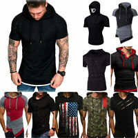 Men's Slim Fit Solid Hooded Hoodie Short Sleeve Casual Gym Pullover T-Shirt Tops