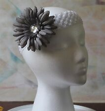 Handmade Headband - White Stretchy Lace with Gray Flower Clip, New