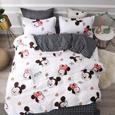 Happy Minnie Mouse Duvet Cover Bed Sheet Pillowcases Disney Cartoon Bedding Sets