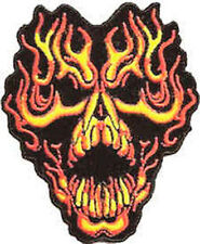 Iron On/ Sew On Embroidered Patch Badge Skull Made With Flames Flaming Skull