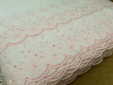 """5 YDS LOT~1980's Broderie Anglaise 'Double Scallop' Trim~9"""" = 230MM~Cotton~Pink"""