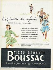 PUBLICITE ADVERTISING 115  1956  BOUSSAC  tissus les tabliers enfants