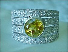 Citrine & CZ Wide Band Ring, Sterling Silver Citrine & CZ Wide Band Ring Size 7