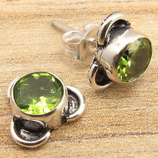 Silver Plated Over Solid Copper ! Original Green PERIDOT Little Stud Earrings