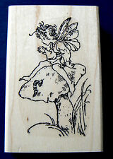 P19  Fairy on mushroom rubber stamp WM
