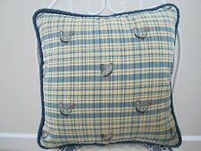 LAST 1 Yellow Blue French Country Rooster Toile Pillow Plaid Farmhouse Friends