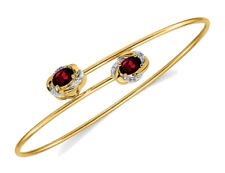 14K Yellow Gold Garnet Bangle Bracelet with Diamond Accents