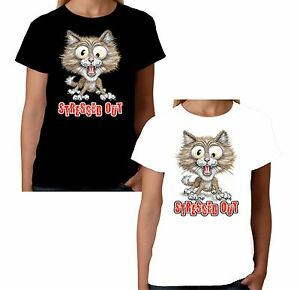 Velocitee Ladies T-Shirt Stressed Out Cat  Funny Kitty Face Fashion W11509