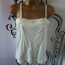 Womens Size 4-6 Glacier White Sequin Beaded Cami Sleeveless Knit Vest Top