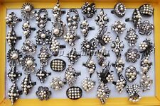 Wholesale Lots 25pcs Black Resin Pearl CZ Rhinestone wedding Jewelry Ring FREE