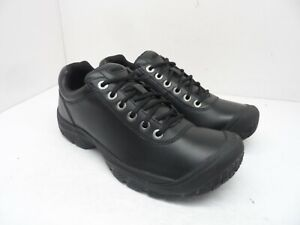 KEEN Men's PTC Lace-Up Casual Slip-Resistant Work Oxfords Black Leather Size 9M