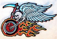 BIKE SKULL WINGS EMBROIDERED PATCH P558 iron on sew biker JACKET patches NEW
