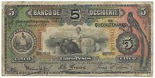 Guatemala 5 Peso 1919 P S176b aVF Quetzal Bird Banco Occidente En Quezaltenango