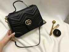 GUCCI Top Handle Handbag Black Small Leather GG Hibiscus Bag Marmont Matelasse