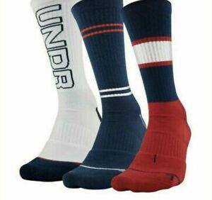 Under Armour UA Phenom CREW Socks 1319930-600 3-PACK Size M (4-8)