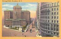 USA Linen c1930-45 Postcard, Borough Hall, Brooklyn, New York CZ8
