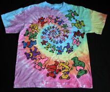 GRATEFUL DEAD T-Shirt Dancing Bears Spiral Tie Dye Mens M Liquid Blue