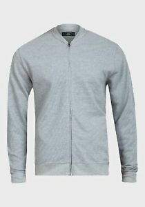 De La Creme - Men's Pique Grey Long Sleeve Zip-up Bomber Jacket