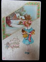 """VTG 1900's """"CHRISTMAS WISHES""""  POSTCARD LITTLE GIRL W/DOLL by P. SANDER EX. COND"""