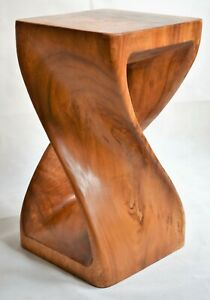 """Twisted Table/Hand Carved/Solid Wood/Lamp Table/Plant Stand/Waxed 20"""""""