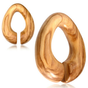 "PAIR 7/8"" INCH OLIVE WOOD EAR WEIGHTS HOOPS SPIRALS GAUGES HOOPS PLUGS TUNNELS"