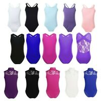 Girls Gymnastics Leotards Sleeveless Ballet Dance Bodysuits Dancewear Costumes
