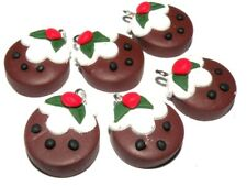 2x Polymer Clay Disc Christmas Pudding Charms Jewellery Making Crafts